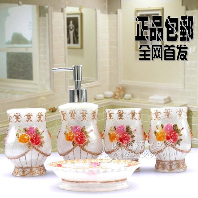 Free shipping resin Five pieces set of bathroom lotion dispenser soap dish tooth brush holder and tumbler bathroom supplies kit