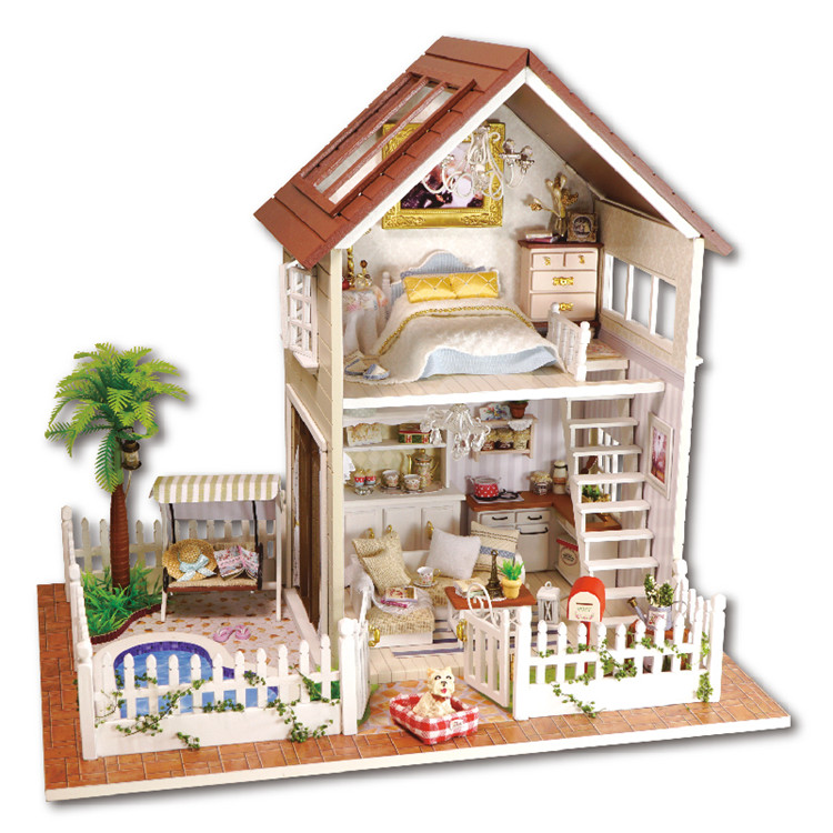 Home Decoration Crafts DIY Doll House Wooden Doll Houses Miniature DIY dollhouse Furniture Kit Room LED Lights Gift A-025 home decoration crafts diy doll house wooden doll houses miniature diy dollhouse furniture kit room led lights gift a 012