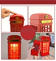 Free Shipping 1Piece Retro Style Booth Shape Telephone ! LED Telephone Booth Shape Home Corded Phone with Table Lamp