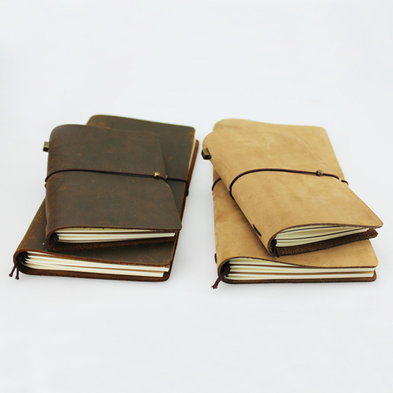 Vintage Handmade Leather Notebook Paper Sketchbooks Travel Journals Writing Blank Diary 2 Colors maritime travel log classic vintage retro classic pu leather blank pages copper plated sea anchor and straps sketchbook notebook