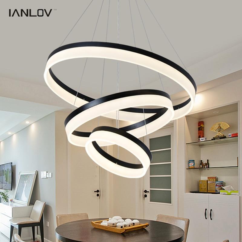 Modern LED Pendant Lights Fixtures For Living Room Restaurant Dining Decor Suspension Black Rings hanging lamp Dimmable Lustre