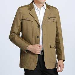 Весна осень среднего возраста повседневная куртка мужчин пиджак masculino casaco jaqueta masculina пальто мужские хлопковый костюм отец одежда M-3XL
