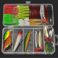 Hot 3 Styles Mixed Fishing Lure Multi Colors Metal Spoon Bait Soft Lure Kit Wobbler Frog