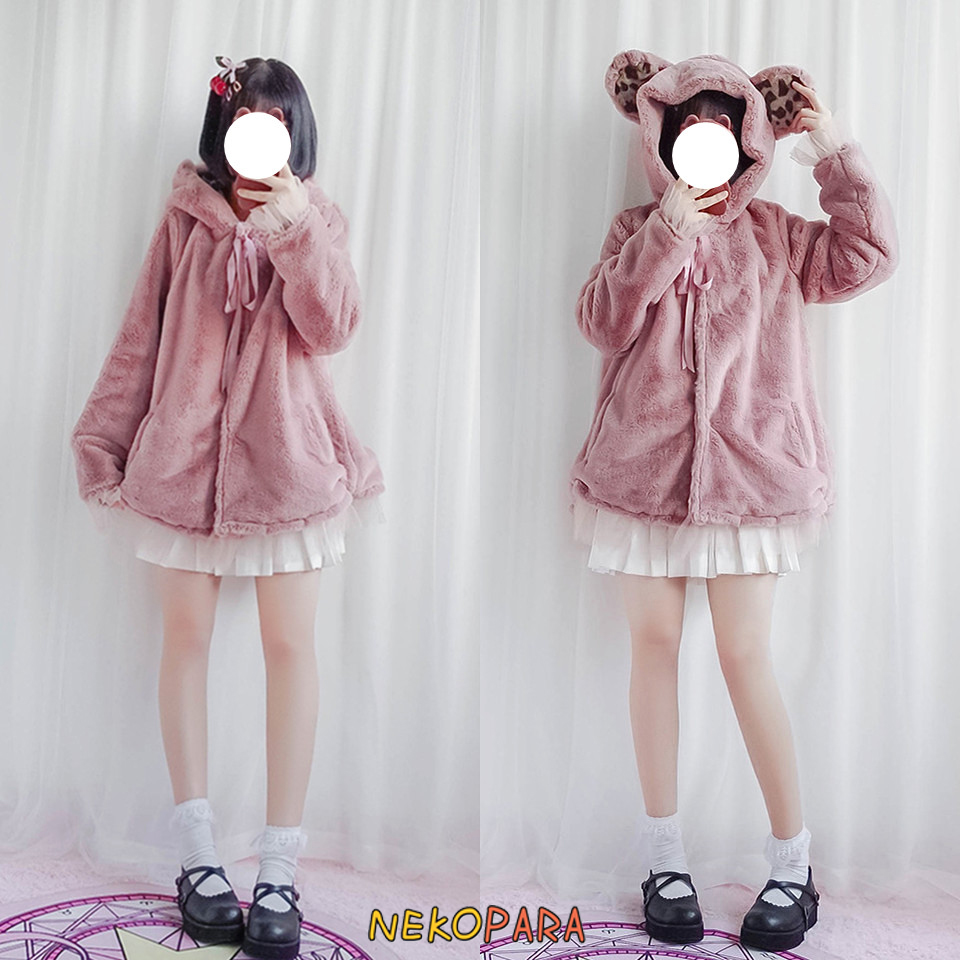 cc3a49b75 Super Cute Women s Faux Fur Cat Ears Fluffy Hooded Coat Winter Thick ...