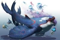 Medusa fiction kit underwater world whale animal art SL21 home wall modern art decor wood frame poster
