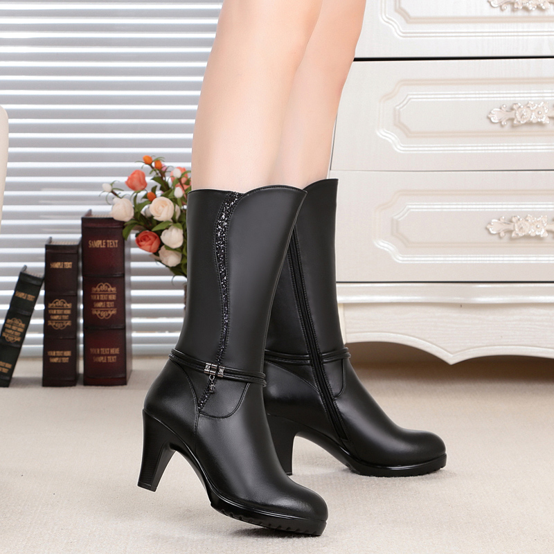 ФОТО 2016 Winter new genuine leather women's boots , tube high fashion boots, warm high quality motorcycle boots34#, free shipping