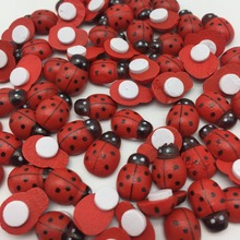 500pcs RED Wood Ladybirds Ladybug Crafts Stickers Self-adhesive Easter DIY Toppers Embellishments 9x12mm