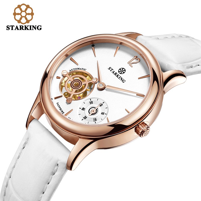 STARKING Women Mechanical Wristwatches Skeleton Tourbillon Analog Automatic Geneva 5ATM Leather Strap Famous Brand Watch AL0213