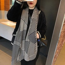 MARC Scarf female new cotton and linen scarf Striped decorated Fashion warm zebra pattern shawl long 2019 Hot sale