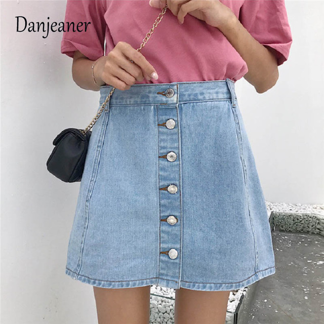 a4a29c2867 Danjeaner Women Vintage A-line Mini Skirt Denim High Waist Jean Skirt  Casual Preppy Style