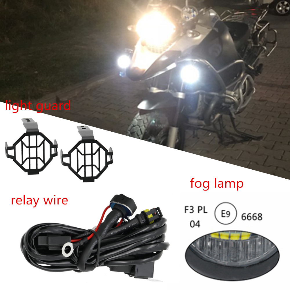 Motorcycle Led Fog Light  U0026 Protect Guards With Wiring