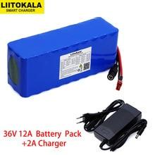 Liitokala Paquete de batería de litio de alta potencia, 36V, 12Ah, 18650, 12000mAh, para motocicleta, coche eléctrico, patinete de bicicleta con cargador BMS + 2A