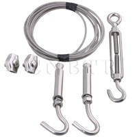 CNBTR Silver 304 Stainless Steel M3 300CM Wire Rope Set with Plastic Wrapping for Outdoor Drying or Tightening