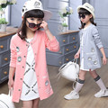 2016 New Spring Baby Girl Coat Mid-Long Clothes For Teenage Girls Kids Baseball Uniform Children Fashion Clothing AA1231
