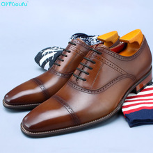 QYFCIOUFU 2019 Handmade Italy Formal Shoes Men Wedding Party Male Dress Shoe Genuine Leather Patina Mens Oxford Business