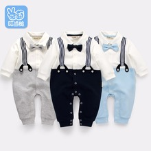 Jingle Mallet boy clothing gentleman newborn baby rompers bow tie formal dress body suit infant jumpsuit