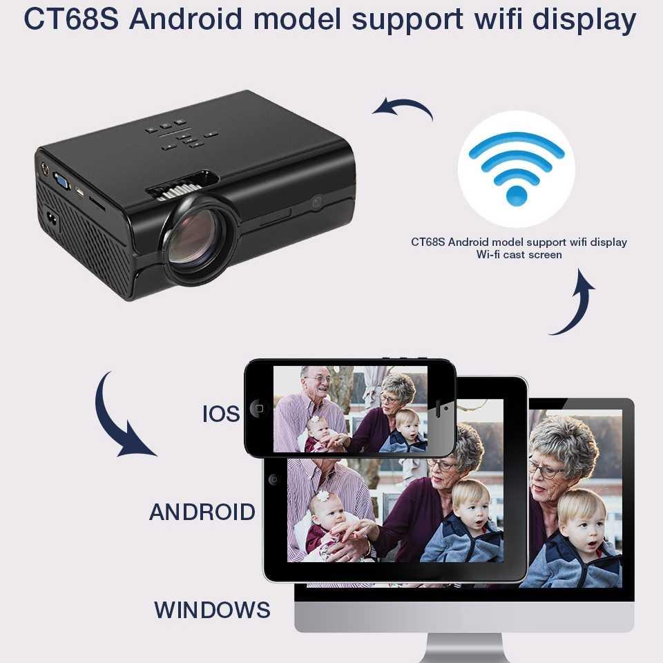 WZATCO CT68S 2500lumen Tragbare LED TV Projektor HDMI Beamer Android OS Wifi für Home theater Unterstützung Full HD 1080P 4K
