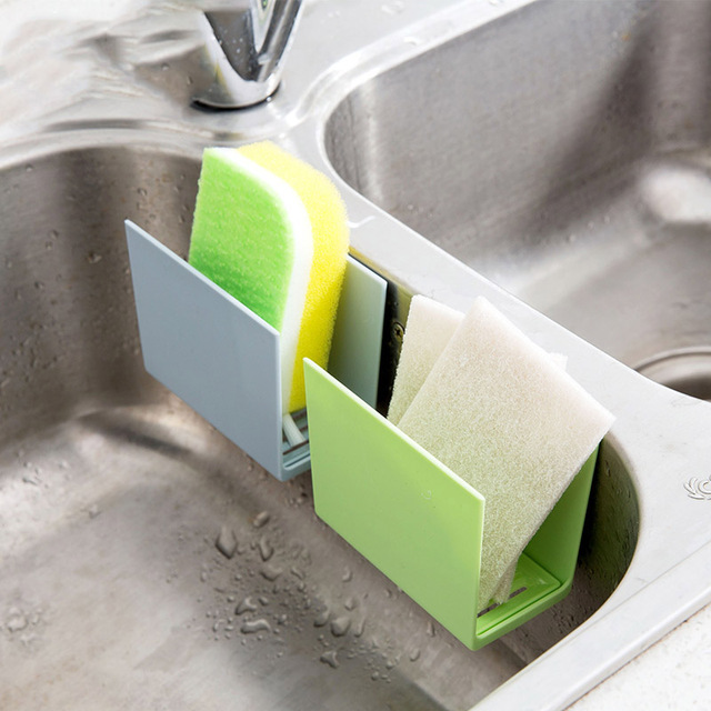 Kitchen Sink Corner Storage Rack Sponge Holder Wall Mounted Dishes Drip  Rack Bathroom Soap Dish Wall