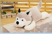 Acerca de 45 cm de peluche de juguete propensos perro husky de peluche de juguete muñeca suave regalo de cumpleaños cojín h2019