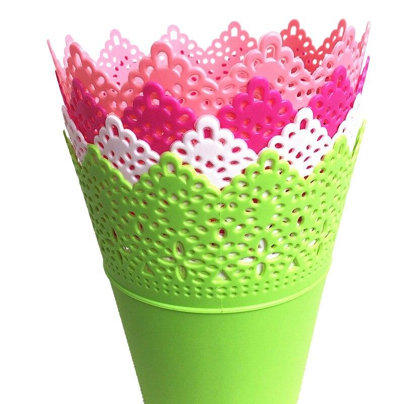 2017 Свадебные украшения Цветочные полые Дизайн Ваза сплошной цвет декоративные домашние маленькие дешевые пластиковые вазы