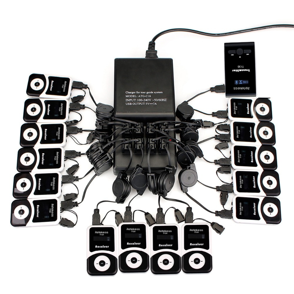 Wireless Tour Guide System 16 Port Charger Base+Transmitter+15 Receiver for Tour Guiding Simultaneous Translation Meeting Church недорго, оригинальная цена