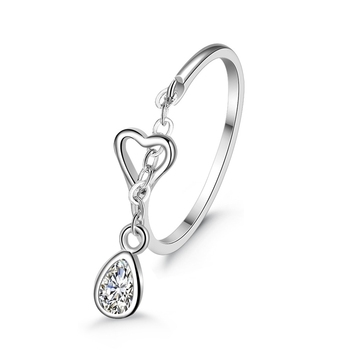 H:HYDE Romantic Elegant Water Drop Heart-shaped Rings for Women Slim Ring Exqusite Jewellery Wedding Party Occasion Ювелирное изделие