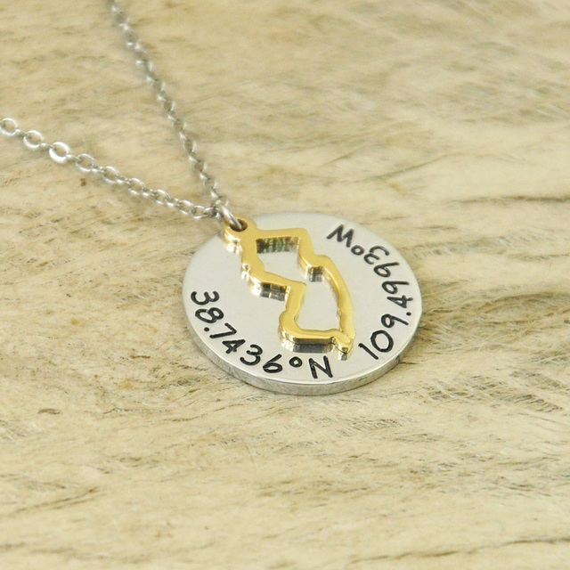 Personalized new jersey charm outline state gift necklace 3 color personalized new jersey charm outline state gift necklace 3 color necklace pendant state necklace hand stamped aloadofball Images