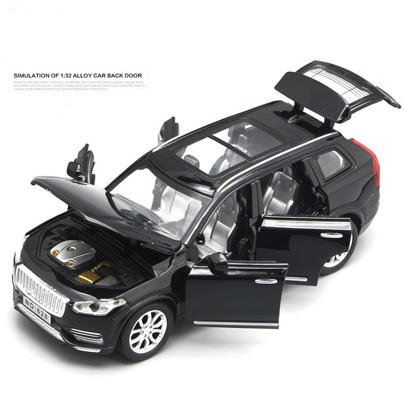 For Volvo XC90 Alloy Car Model Light Music Pull Back Auto Speelgoed VV 6 Open Doors Simulation Toy Vehicles Car Model Scale 1:32 1 32 alloy pull back toy car model musical