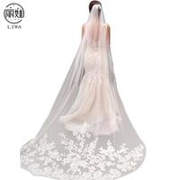 Vintage Style 3m Veil Wedding Applique Edge Long Two Layer Bridal Bridal Veil With Comb Acessorios