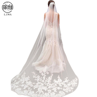 Vintage Style 3m Veil Wedding Applique Edge Long Two Layer Bridal Bridal Veil With Comb Acessorios