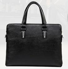Bolsos hombre marca famosas vintage genuine leather briefcases black men's business bag designer laptop handbag portfolio B00030
