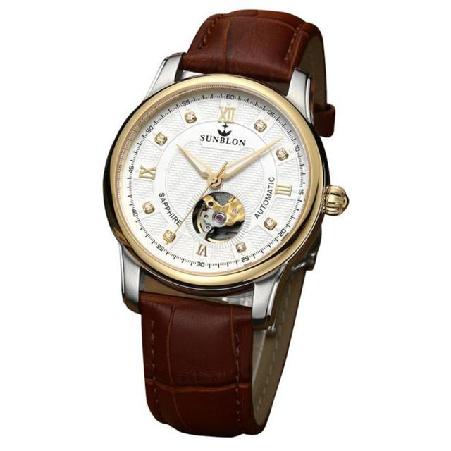 Sunblon - Automatic Mechanical Watch With Leather Band 3