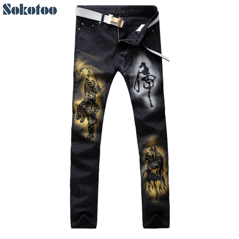 Sokotoo Mens casual tiger colored drawing printed jeans Fashion slim straight black stretch denim pants Long trousers