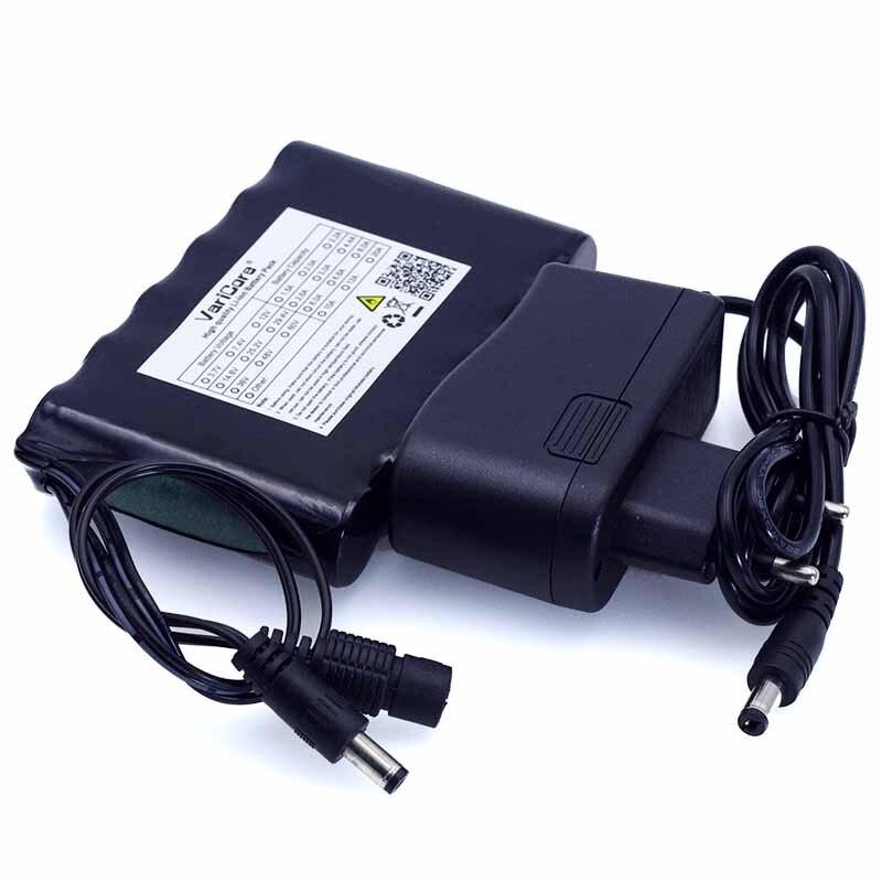 VariCore portátil Super 18650 recargable li-lon batería capacidad DC 12 V 6800 mAh CCTV Cam Monitor 12,6 V 1A cargador