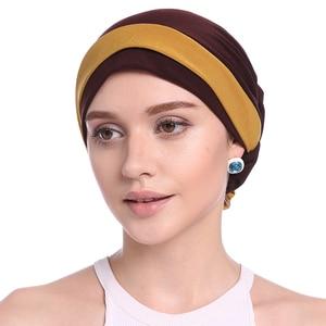 Image 4 - Haimeikang Autumn Winter Women Folded Turban Chemo Cap Hair Bands for Women Muslim Flower Headwrap Headbands Hair Accessories