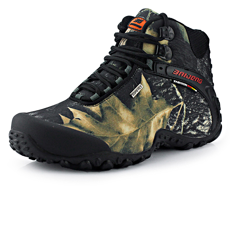 Hiking Shoes: New waterproof canvas hiking shoes boots Anti-skid Wear resistant breathable fishing shoes  climbing high shoes