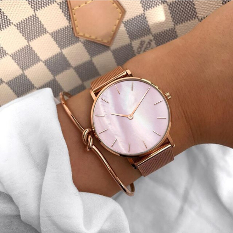 где купить Mavis Hare Rose Gold Pink Seashell Wrist Mesh Women Watches with Stainless Steel Knot Bracelet Free Shipping for Women Gift по лучшей цене