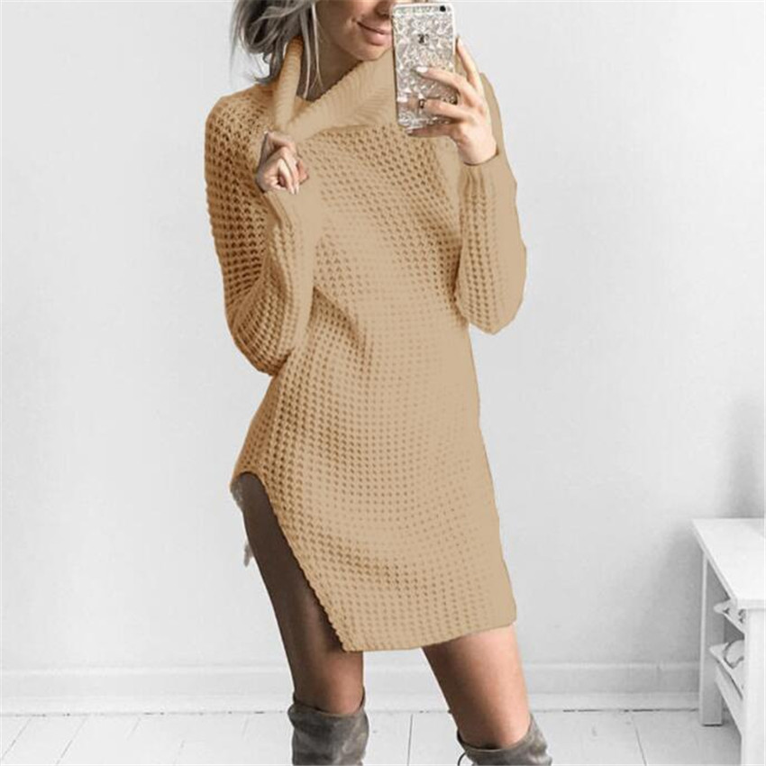 2017 New Turtleneck Sweater Dress Women Autumn Winter Sexy Split Bodycon Knitted Dresses Female Casual Sheath