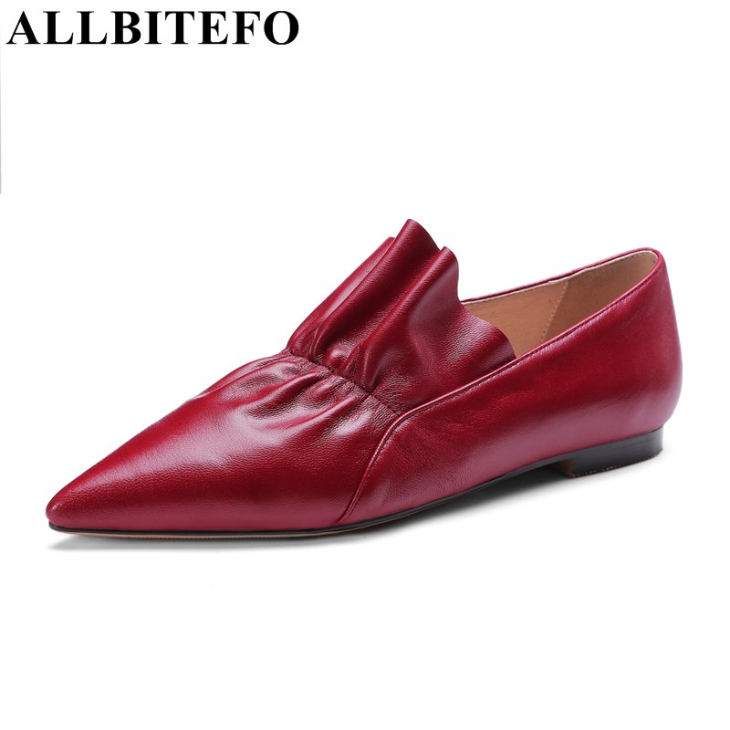 ALLBITEFO fashion sexy pointed toe full genuine leather soft high quality women flats high quality flat shoes woman Sra zapato fashion women shoes woman flats high quality comfortable pointed toe rubber women sweet flats hot sale shoes size 35 40