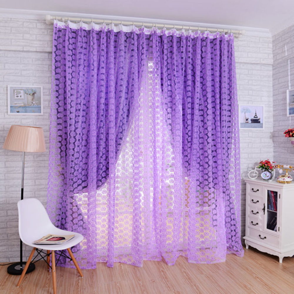 Happy <font><b>home</b></font> Modern Europe <font><b>Home</b></font> <font><b>Decoration</b></font> 2016 200x100cm Rose Tulle Window Screens Door Balcony Curtain Panel Sheer Scarfs