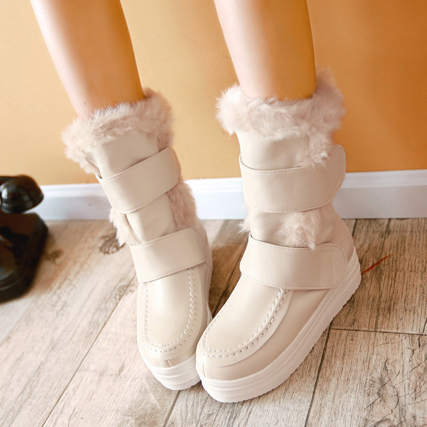 2015 New Arrival Winter Women Flats Chunky Heel Platform Buckle Round Toe Fashion Warm Mid Calf Snow Boots Size 34-39 SXQ0818 women round toe ankle boots woman warm fur winter snow boots new fashion buckle style footwear low heel shoes size 34 43