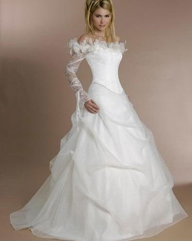 Free Shipping Stylish Long Sleeve Flowered Ruched Ball Gown Beautiful Wedding Dresses Nc167