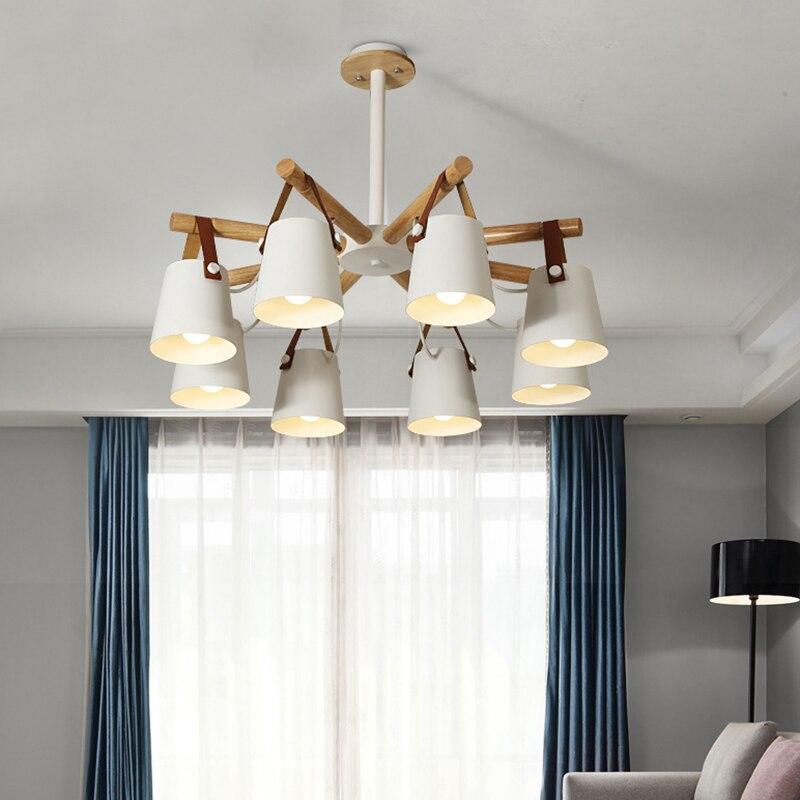 Скандинавский современный подвесной светильник из цельного дерева E27, светодиодная креативная индивидуальная потолочная лампа для кухни,
