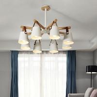 Nordic iron & solid wood chandelier E27 led creative personality belt loft chandelier for kitchen living room bedroom restaurant
