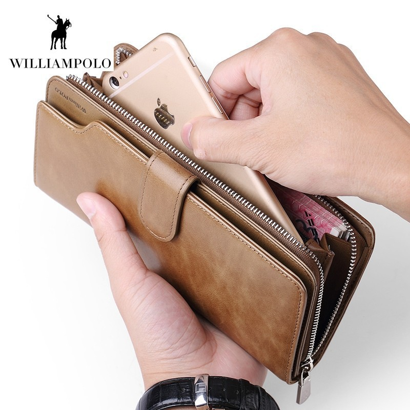 WILLIAMPOLO Leather Wallet Long Design Card Holder Quality Passport Cover Men Purse Zipper Multi-function Coin Wallet POLO289 цена 2017