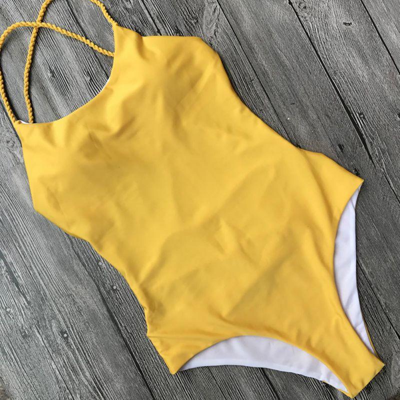 2018 Bandage One Piece Swimsuit Solid striped halt backless Swimwear Women Halter Bathing Suit Lady's biquinis