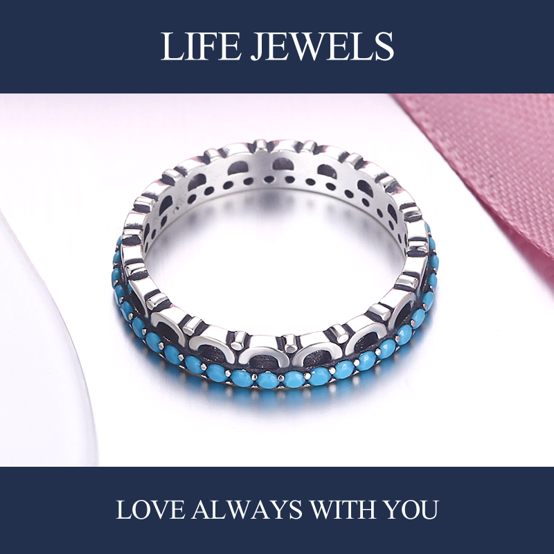 Authentic100 925 Sterling Silver Turquoise Rings Charm l Women Luxury Sterling Silver Valentine 39 s Day Gift Jewelry 18162 in Rings from Jewelry amp Accessories