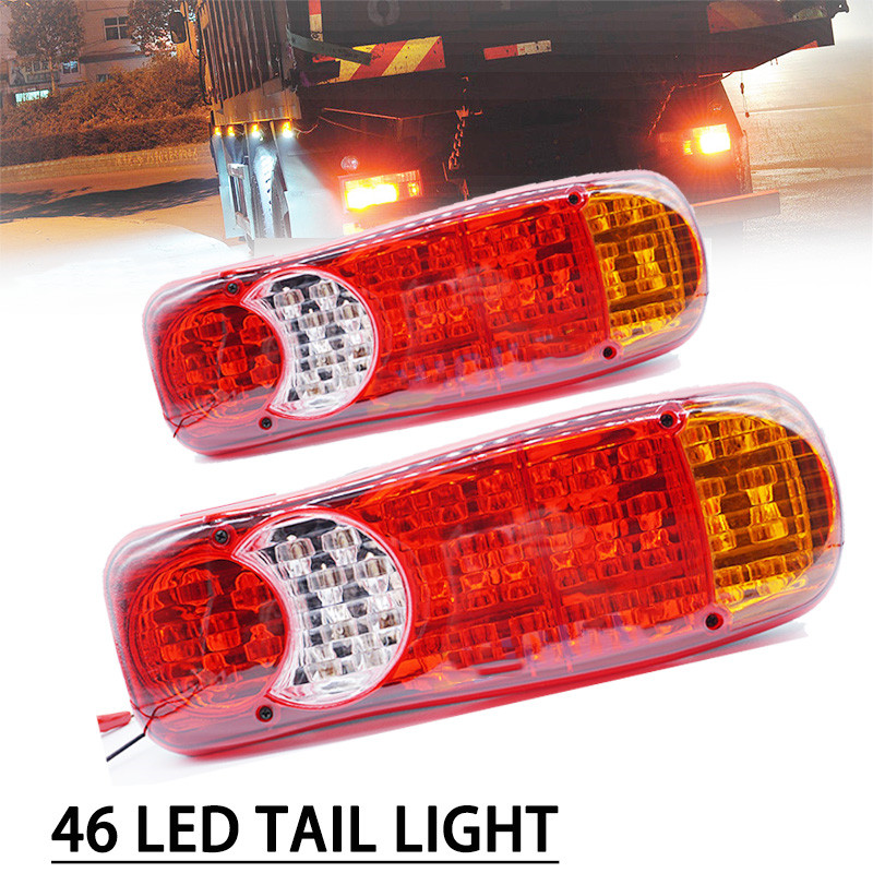 1PAIR Waterproof 46 LED Taillights 12V Trailer Truck Lorry Stop Rear Tail Light Auto Car Signal Lamp Caution Indicator Fog Light