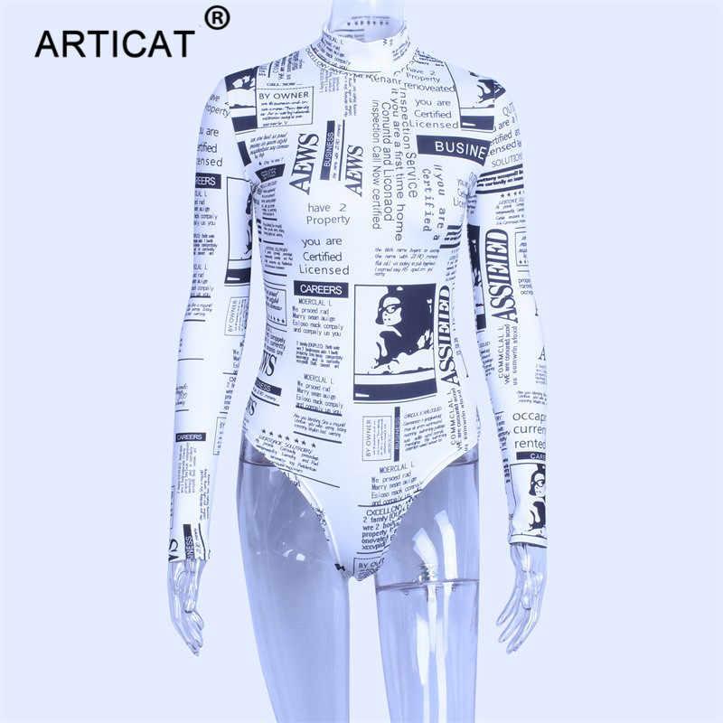 Articat رسائل طباعة طويلة كم عالية الرقبة Bodycon مثير عيد الميلاد ارتداءها 2018 الخريف الشتاء ثوب فضفاض للمرأة بذلة بدلة للجسم