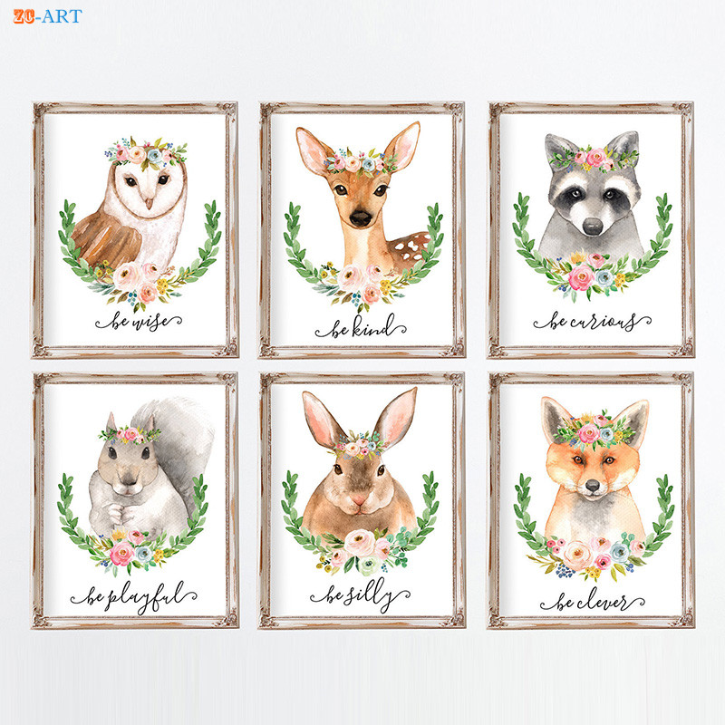 Us 3 94 18 Off Modern Canvas Painting Woodland Animals Baby Animal Poster And Print Wall Art Kids Room Nursery Decor Shower Gift In
